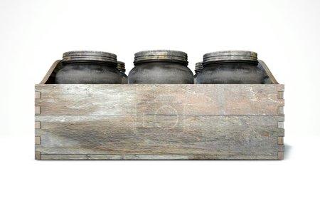 Photo pour Une 3d render d'une collection de cinq pots de verre vintage moonshine dans une caisse en bois portent sur un fond de studio blanc isolé - image libre de droit