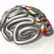 A stylized metal casting depicting a brain with th...