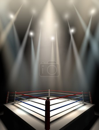Photo pour A regular boxing ring surrounded by ropes spotlit by various lights on an isolated dark background - image libre de droit