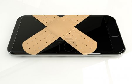 Photo pour A regular modern day smart phone concept showing a criss cross of band aids covering the screen symbolizing a repair on an isolated white studio background - image libre de droit