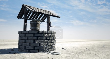 A brick water well with a wooden roof and bucket a...