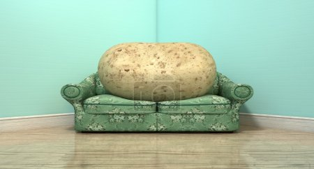 Couch Potato On Old Sofa