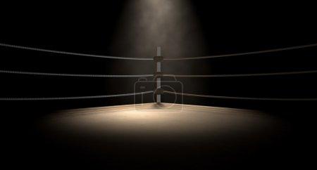 Photo pour Un gros plan du coin d'un vieil anneau de boxe vintage entouré de cordes éclairées par un projecteur sur un fond sombre isolé - image libre de droit