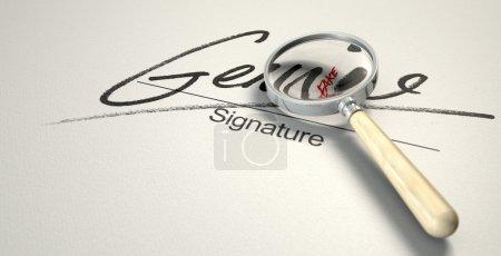 Photo pour Un concept trompeur montrant un livre blanc avec une signature qui lit authentique mais sous une loupe lit faux avec un regard de plus près - image libre de droit