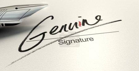 Photo pour Un concept trompeur montrant un stylo qui vient d'écrire sur un livre blanc une signature qui lit authentique mais lit faux avec un regard plus attentif - image libre de droit
