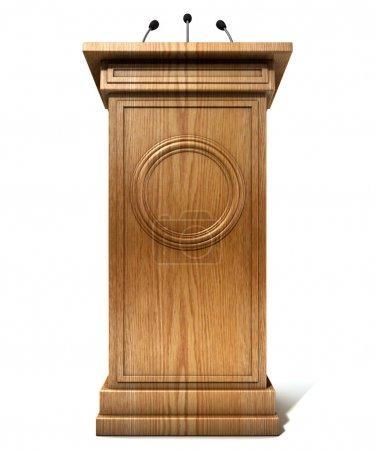 Photo for A wooden speech podium with three small microphones attached on an isolated white studio background - Royalty Free Image