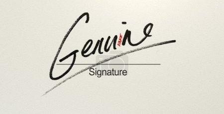Photo pour Un concept trompeur montrant un livre blanc avec une signature qui lit authentique mais lit faux avec un regard plus attentif - image libre de droit