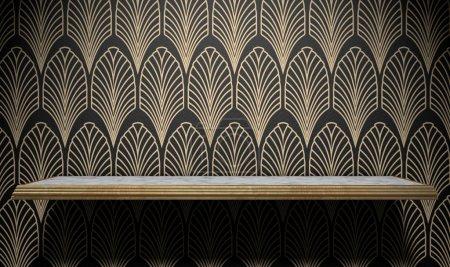 Pusty Art Deco półki na ścianie