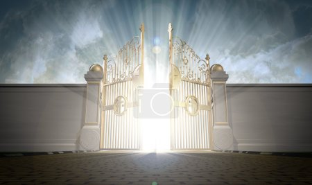Photo for A depiction of the pearly gates of heaven opening with the bright side of heaven contrasting with the duller foreground - Royalty Free Image
