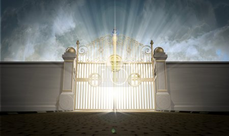 Photo for A depiction of the pearly gates of heaven closed with the bright side of heaven contrasting with the duller foreground - Royalty Free Image