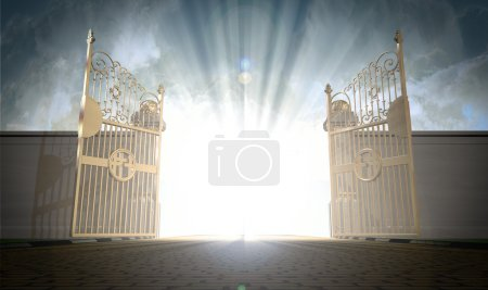 A depiction of the pearly gates of heaven open wit...