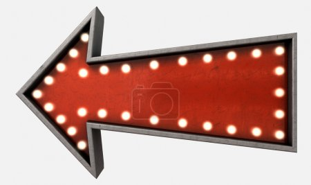 Photo for A belle epoque era red vintage arrow sign light by lightbulbs on an isolated white studio background - Royalty Free Image