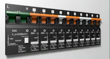A row of switched on household electrical circuit ...