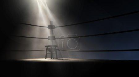 Photo pour Une vue spectaculaire du coin d'un ancien ring vintage avec un tabouret vide éclairé par un seul projecteur sur un fond sombre isolé - image libre de droit