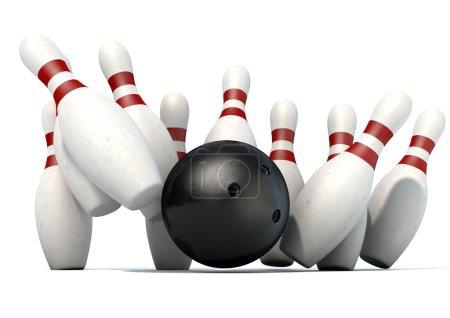 Ten Pin Bowling Pins And Ball