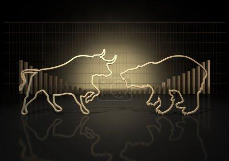 Photo pour Un gros plan abstrait de deux contours dorés représentant un taureau stylisé et un ours représentant les tendances des marchés financiers sur un fond de graphique à barres - image libre de droit