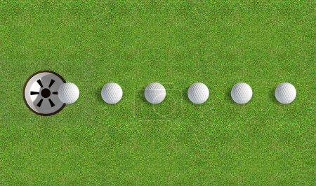 Photo pour Un putting green de golf parfaitement entretenues montrant une balle en mouvement sur son chemin vers le trou dans la journée sur un fond de ciel bleu - image libre de droit