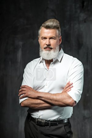 Photo for Portrait of stylish handsome adult man with beard. Man wearing shirt and looking at camera - Royalty Free Image