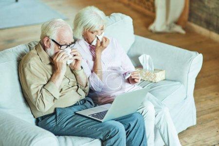 Photo pour Vue de dessus de deux conjoints âgés utilisant des serviettes pour un rhume lors d'une consultation en ligne tout en utilisant un ordinateur portable. Concept de soins et de santé - image libre de droit
