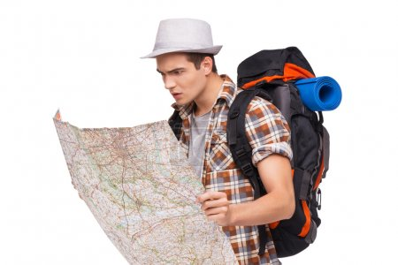 Lost tourist with map
