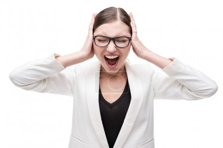 Young contemporary business woman with glasses screaming