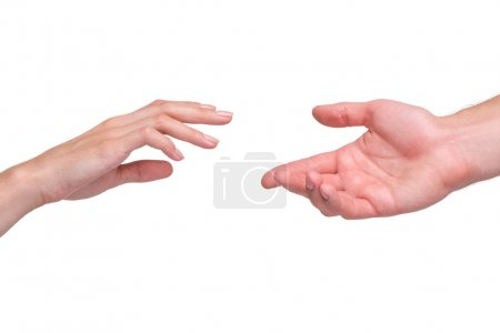 Photo pour Reaching female and male hands isolated on white background. Concept for rescue, friendship, guidance - image libre de droit
