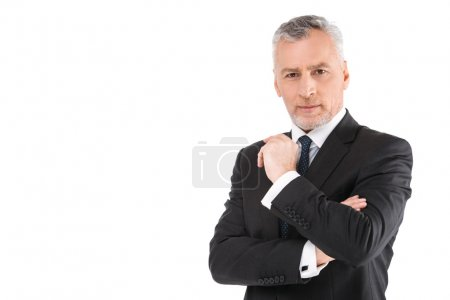 Photo for Portrait of aged businessman wearing suit and tie. Businessman in years standing on white background. Boss looking at camera - Royalty Free Image