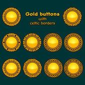 Vector set of ten golden celtic knotwork buttons on dark background