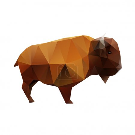 Illustration pour Buffle polygonal bas, bison abstrait, illustration vectorielle - image libre de droit