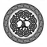 Black and white illustration of celtic tree of lif...