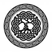 Black and white illustration of celtic tree of life  vector illustration