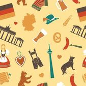 Pattern with raditional symbols of culture architecture and cuisine of Germany