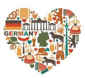Traditional symbols of culture architecture and cuisine of Germany in heart shape
