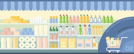 Illustration pour Papier hygiénique, lingettes et produits de nettoyage exposés dans un supermarché - image libre de droit