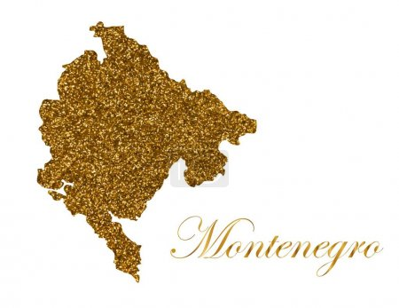 Photo for Map of Montenegro. Silhouette with golden glitter texture. Vector Illustration - Royalty Free Image