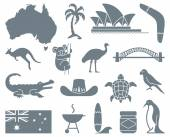 Monochrome traditional symbols of Australian culture and nature