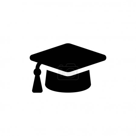 Illustration for Graduation cap vector icon. Student hat black symbol isolated Vector illustration EPS 10 - Royalty Free Image