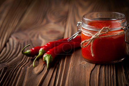 Photo for Homemade DIY natural hot chilli sauce sriracha - Royalty Free Image