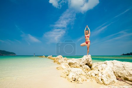 Photo for Hot summer yoga session on a beach - tropical Koh Phangan island, Thailand. Vriksha-asana - tree pose. - Royalty Free Image