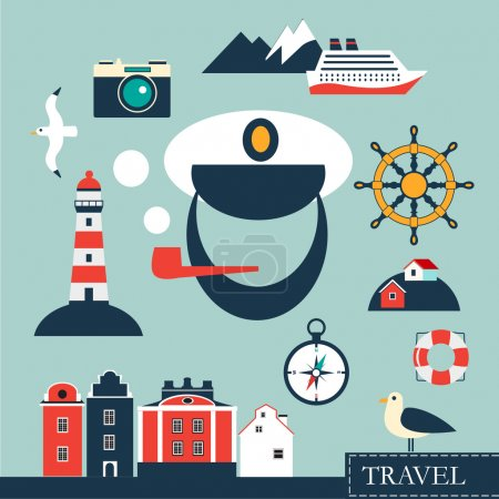 Illustration for Tourism concept image with vacation flat sea and cruise vector icons - Royalty Free Image
