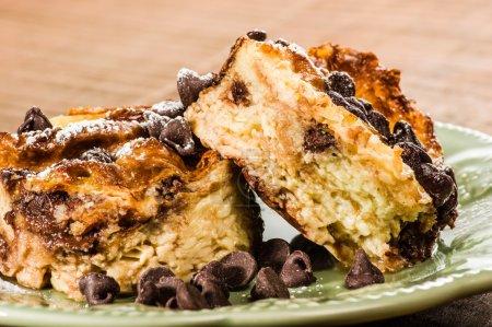 Chocolate chip bread pudding dessert