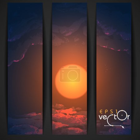 Illustration for Sunset, Sunrise With Clouds. Painting Picture. Vector Illustration Eps 10 - Royalty Free Image