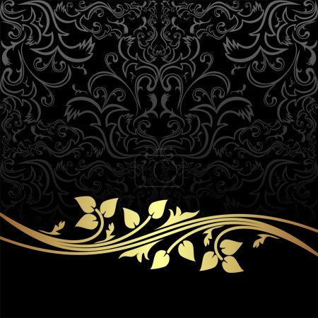 Elegant charcoal Background with golden floral Elements.