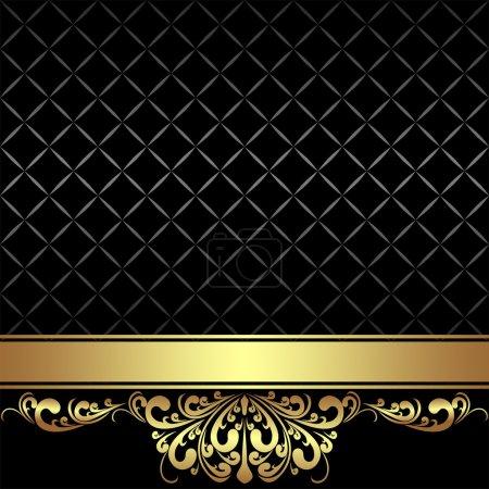 Elegant black Background with golden Ribbon and royal Border