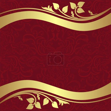 Red  ornamental Background with golden floral Borders.