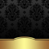 Luxury charcoal damask Background with golden Border is presented