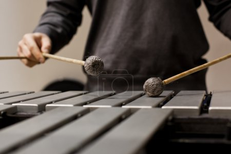 Hands musician playing the vibraphone