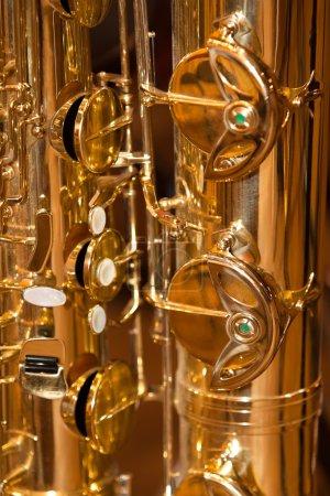 Photo pour Vannes à fragment saxophone gros plan - image libre de droit