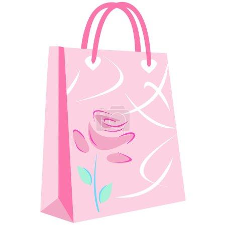 Elegant floral shopping bag on pink background...