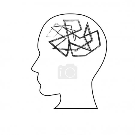 Illustration for White silhouette symbolizing mental health and stress - Royalty Free Image